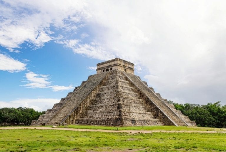 The temple of Kukulcan in the Mayan City of Chichen Itza.