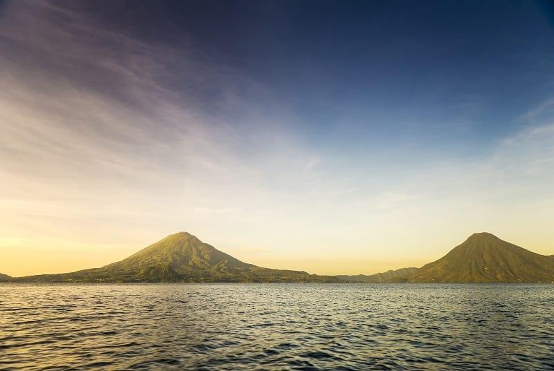 Volcanoes in Lake Atitlan, Guatemala. Boat tours Lake Atitlan