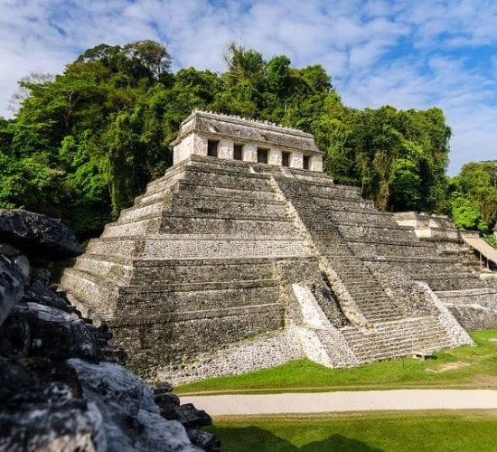 The Mayan temple of the Inscriptions in the Mayan City of Palenque, Mexico. The Mayan Trail Tour. Central America Maya Ruins