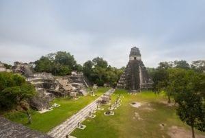 The main plaza in the Mayan City of Tikal, Guatemala.