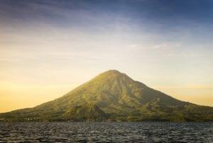 Volcano Toliman, Lake Atitlan. Guatemala boat tours. Travel Safety Central America. Guatemala Travel Package