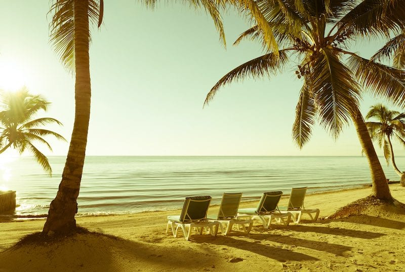 Tropical beach in the Caribbean Ocean of Belize. Belize Vacations