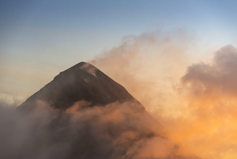 Volcano de Fuego Guatemala. Hike to Volcano Acatenango