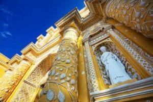 View of the entrance of the amazing church of La Merced. Antigua Guatemala. Guatemala. Holy Week Antigua Guatemala