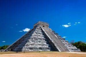 The pyramid of The Castle in Chichen Itza Mexico.