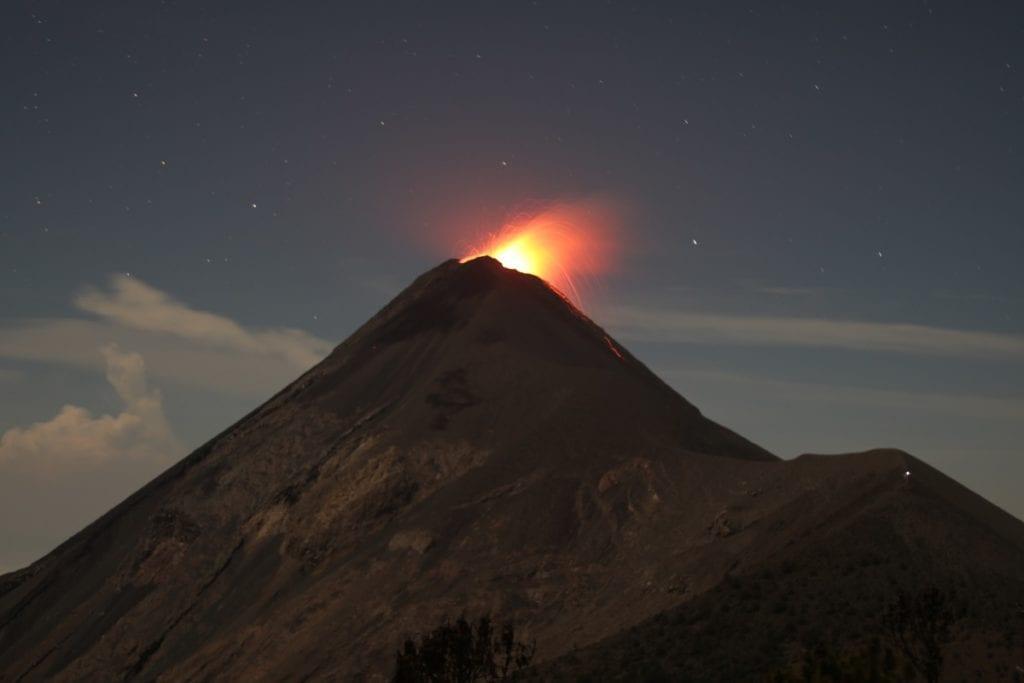 Volcano de Fuego erupting. View from Volcano Acatenango Guatemala. Hike to Volcano Acatenango