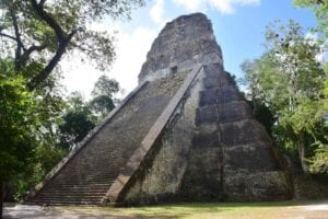 Temple V of the Mayan City of Tikal. Unforgettable tourist attractions in Guatemala