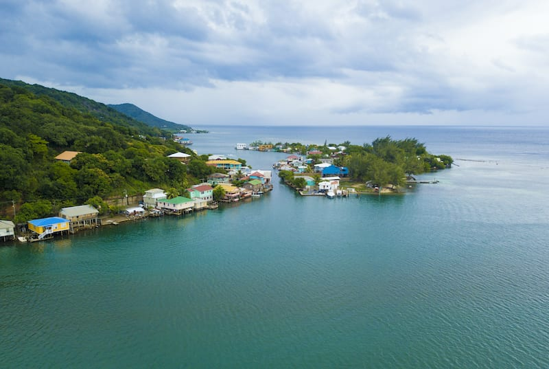 Aerial view of Oak, Ridge, the Venice of the Caribbean, in Roatan, Island. Honduras Vacation Tours