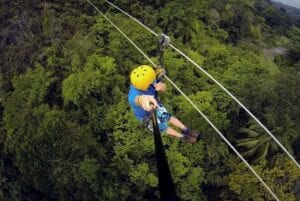 Zip line tour in the jungles of Central America.