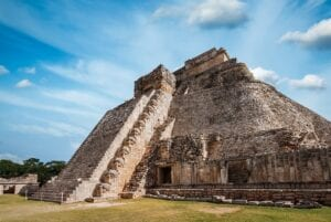 Anicent mayan pyramid in Uxmal. Mexico Tours.