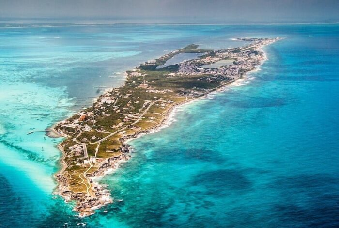 Beautiful aerial view of Isla mujeres, Mexico.