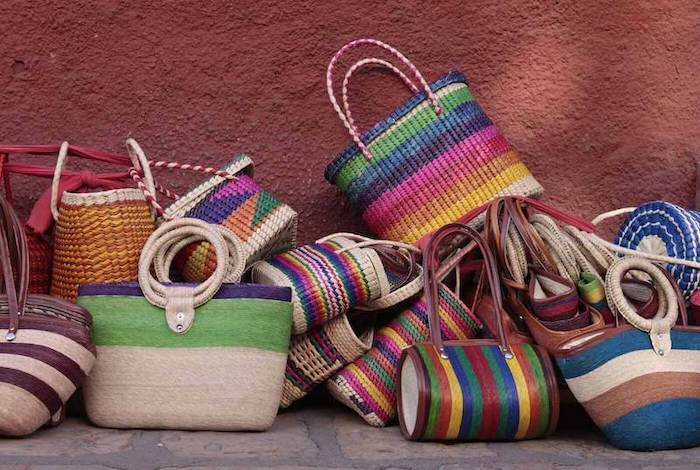Traditional bags in a market of Oaxaca, Mexico.
