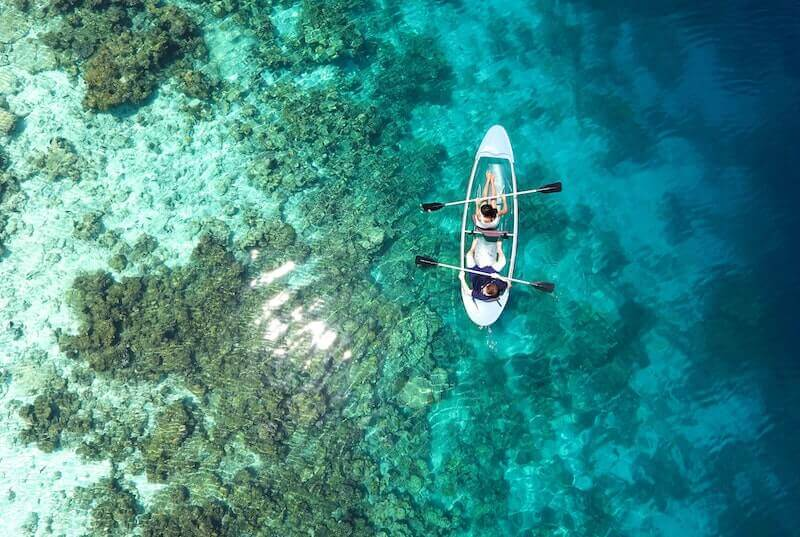 Canoeing in the Coral Barrier Reef of Belize