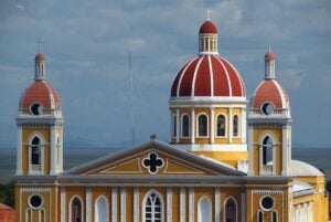 Delicate view of the Cathedral in Granada, Nicaragua with the lake Managua in the background.