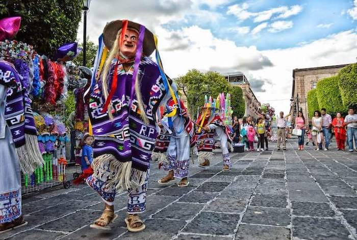 Colorful traditional parade in Mexico.