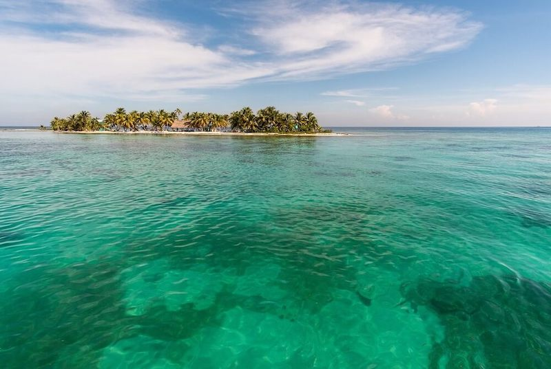 Dazzling view of the coral barrier reef in the island of Laughing bird.