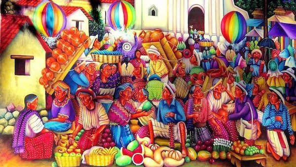 Painting of a traditional Maya market of Guatemala.