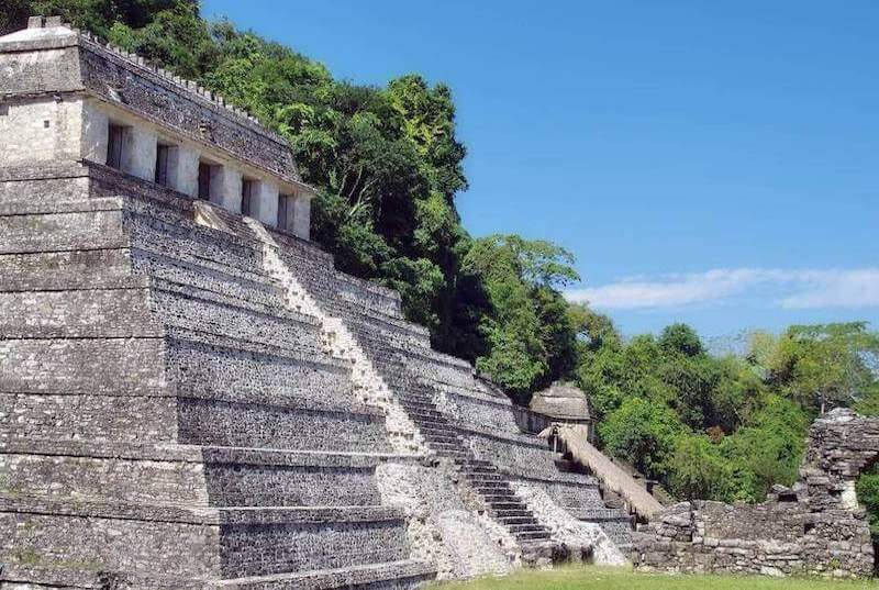 Great Pyramid at the ruins of Palenque, Mexico.