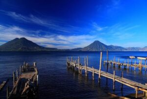 Fantastic view of Lake Atitlan and its volcanoes from Panajachel.