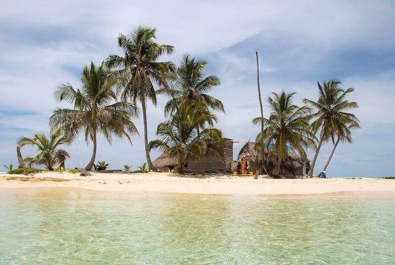 Splendid small islands of San Blas in the Caribbean Ocean.
