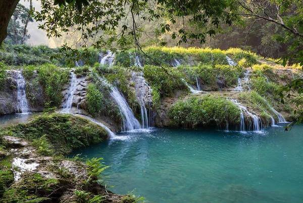 Exquisite natural pools if crystalline water in Semuc Champey.