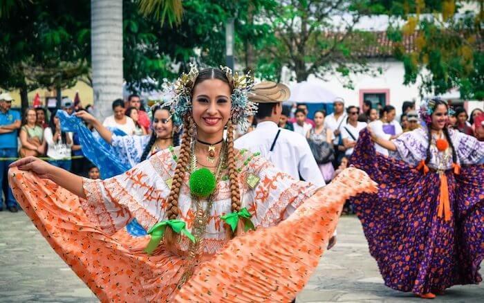 Elegant multicolored traditional dance in Honduras
