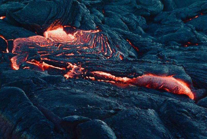 Incredible running lava in the active volcano Pacaya.