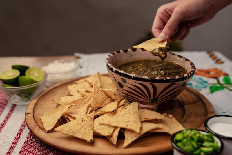 Black beans with nachos, Guatemala.