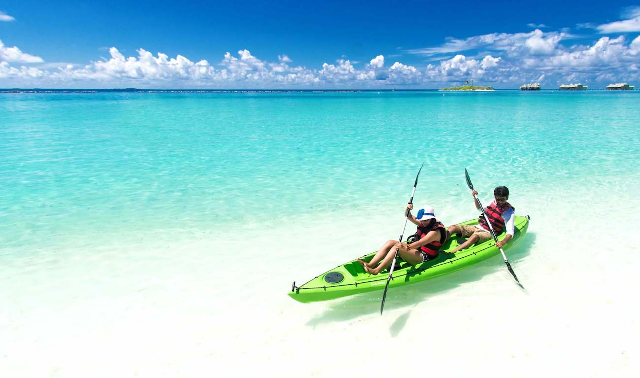 Kayaking in the delightful coral barrier reef of Belize.