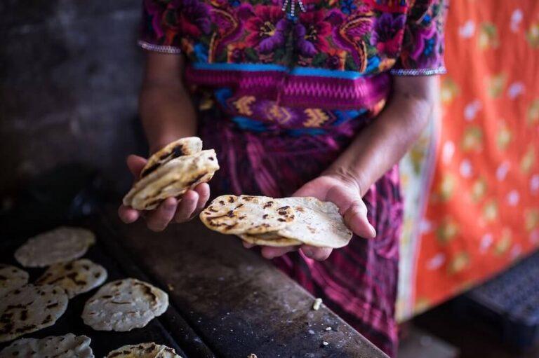 Traditional tortillas made by a Maya woman in Guatemala.