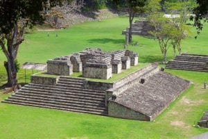 View of the ball game in the archaeological site of Copan in a Honduras tour